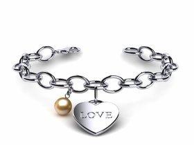 Golden Pearl Heart Love Bracelet