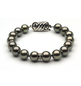 8 to 9mm Tahitian Pearl Bracelet with Diamond Rondells