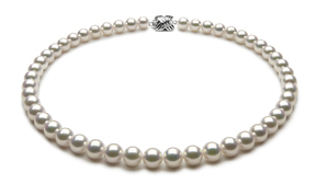 TRUE AAA Quality 8 x 8.5mm Natural White Akoya Cultured Pearl Necklace