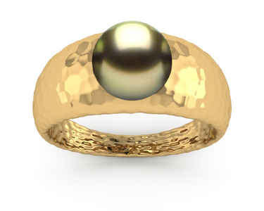 Tahitian Pearl Tres Jolie Hammered Style Ring