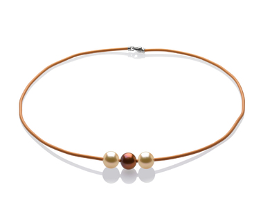 Triple Pearl and Cord Necklace