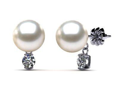 South Sea Pearl & Diamond Dangle Earring .26 carats t.d.w.