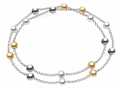 Multicolor Tin Cup Necklace with Heavy Chain