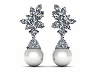 White South Sea Pearl Earring Cluster Diamond Cap Style 4.37 carats t.dw.