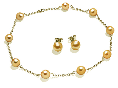 10 x 11mm Golden South Sea Cultured Pearl Tin Cup Necklace