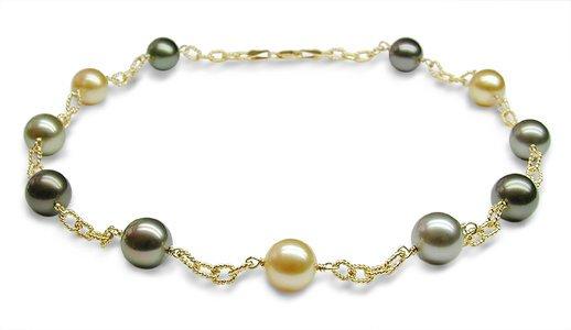 Multicolor South Sea Cultured Pearl Tincup Necklace