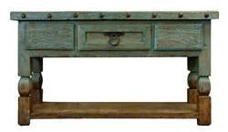 """Aspen Antique Turquoise 64"""" Console Table"""