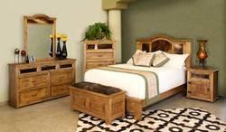 San Felipe Rustic Bedroom Furniture 6 Piece Set w/ Cowhide