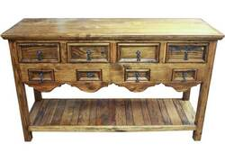 Old World Rustic Console Table w/ 8 Drawers