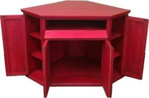 Santa Fe Antique Red Rustic Corner TV Stand