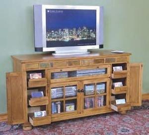 Arizona Rustic Oak and Slate Tall TV Stand
