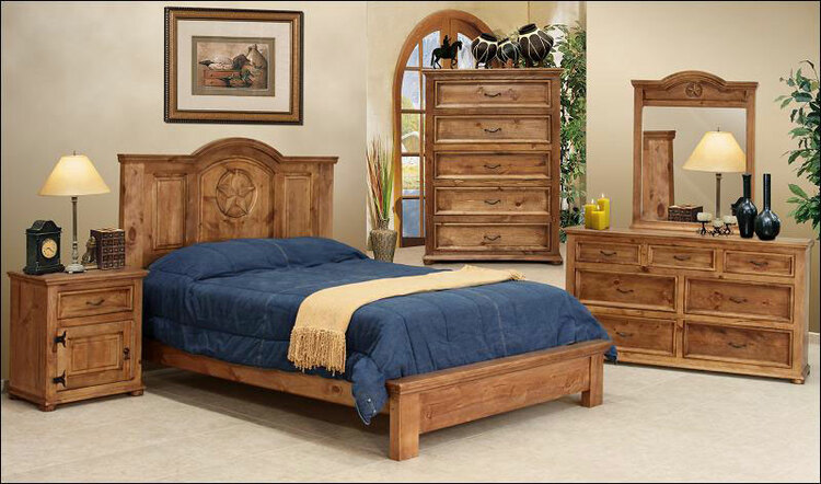 San Felipe Rustic Bedroom Furniture Set w/ Star