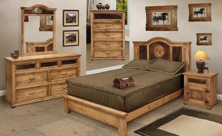 San Felipe Rustic Bedroom Furniture Set w/ Cowhide