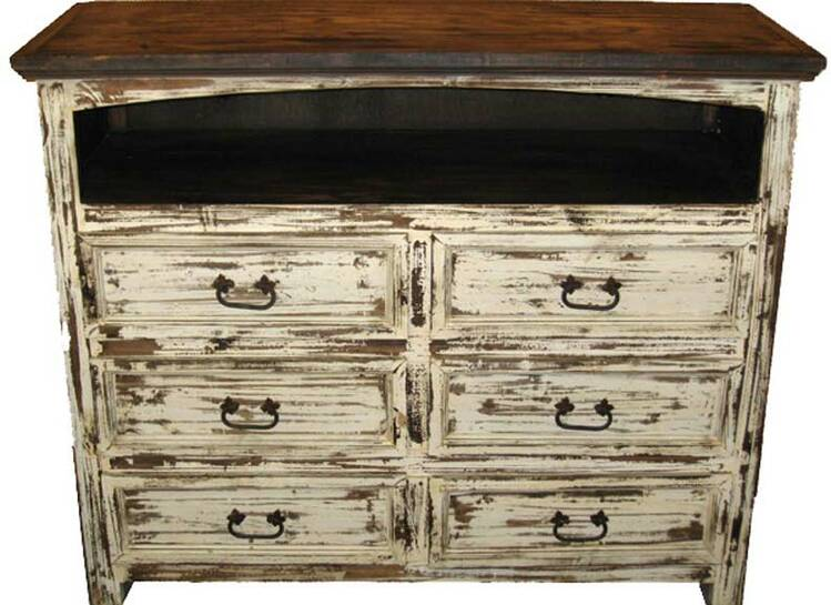 """Corona Antique White Bedroom TV Stand 41"""" Tall"""