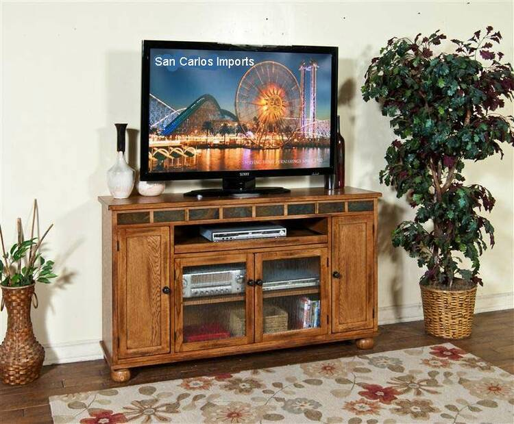 """Arizona Rustic Oak 62"""" TV Stand w/ Pull Out Tray"""