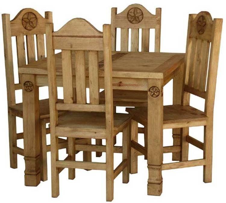 Laredo Rustic Square Star Dining Table Set