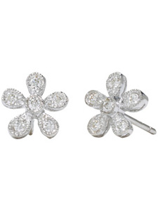 18K White Flower Tip Earrings with (.24 ct. tw.)