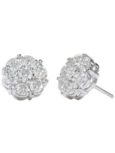18K White Large Diamond Clusters Studs (1.80 ct. tw.)