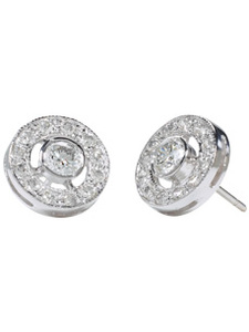 18K White Circle Pavee Diamond Studs (1.18 ct. tw.)