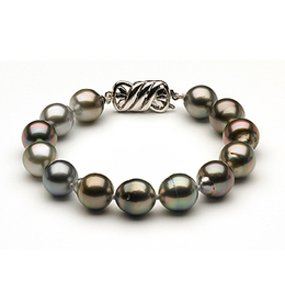10 to 11mm Tahitian Pearl Bracelet Multicolor Baroque