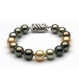 11.5 x 12mm Tahitian & Gold South Sea Pearl Bracelet