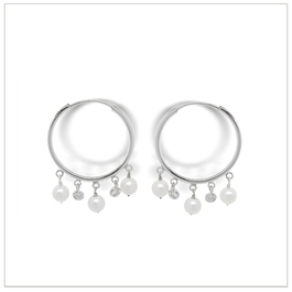 Gypsy a Freshwater Cultured Pearl and Diamond Hoop Earring