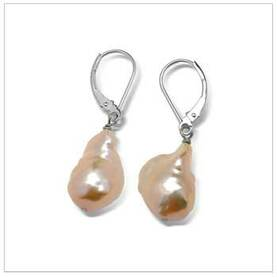 11 x 12mm Pink Freshwater Pearl Dangle Earrings