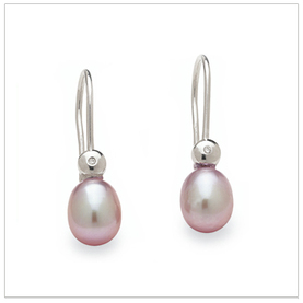 Fresh Pinky a Freshwater Pink Drop Pearl and Diamond Earring