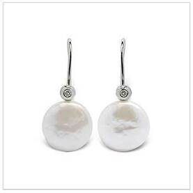 Coin Freshwater Cultured Pearl and Diamond Euro Earring
