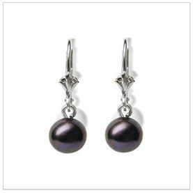 Black Pearl Dangle a Freshwater Cultured Pearl Earring
