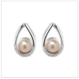 Flame a Freshwater Pearl Earrings