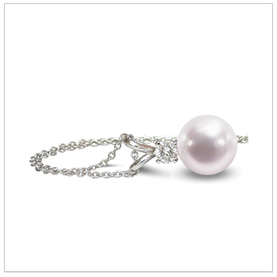 7mm Cultured Pearl and Diamond Pendant Necklace with .07 Carat T.D.W.