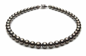 8.6 x 9.9mm Black Tahitian Pearl Necklace Eggplant Color