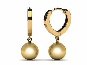 Golden Pearl Earring Heart Hoop