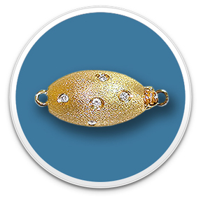 14K Brush Finish Diamond Oval Clasp