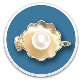 14K Yellow Gold Flowered Pearl Clasp