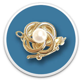 14K Yellow Gold Woven Pearl Clasp