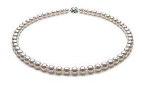 TRUE AAA Quality 7 x 7.5mm Natural White Akoya Cultured Pearl Necklace