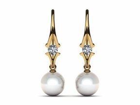 Akoya Pearl Journey Earring .32 carats t.d.w.