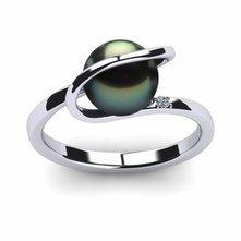 Tahitian Pearl Diamond Halo Ring
