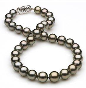 10 x 11.6mm Medium Grey Green Tahitian Pearl Necklace
