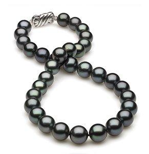 10.5 x 11.8mm Dark Black Blue/Green Tahitian Pearl Necklace