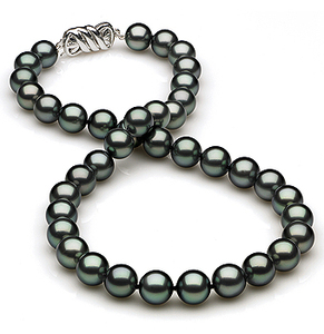 9 x 9.9mm Black Blue/Green Tahitian Pearl Necklace