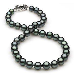 8.2 x 10.3mm Black Green Tahitian Pearl Necklace