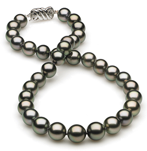10 x 11.7mm Dark Grey Green Tahitian Pearl Necklace