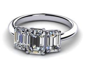 Emerald Cut Three Stone Diamond Engagement Ring