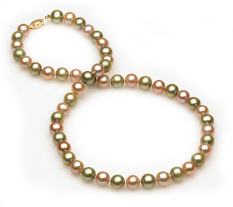 Lavendar and Green Pearl Necklace
