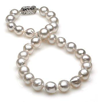 11x13mm White South Sea Semi Baroque Pearl Necklace