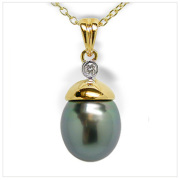 Nell a Black Tahitian Cultured Pearl Pendant