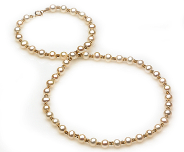 Freshwater Pearl and Gold Bead Necklace